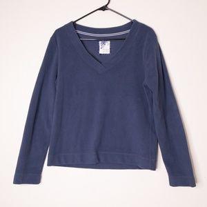 Old Navy Blue Fleece V Neck Pullover Long Sleeve